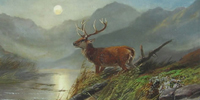 Clarence Roe painting of a Stag in the Scottish Highlands