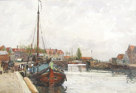 Details from View down a Dutch Canal by Robert Weir Allan