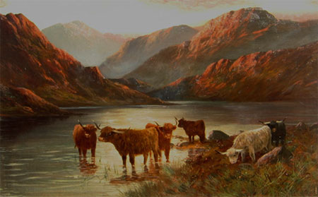 Detail from Highland Cattle at Sunset by Henry Stewart (alias Francis E Jamieson)